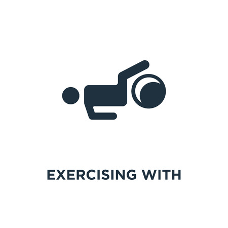 Exercising with Gymnastic Ball icon. Black filled vector illustration. Exercising with Gymnastic Ball symbol on white background. Can be used in web and mobile. Stock Illustratie