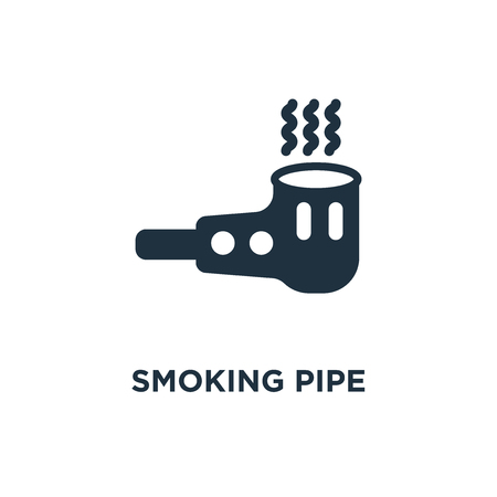 Smoking pipe icon. Black filled vector illustration. Smoking pipe symbol on white background. Can be used in web and mobile. Ilustração