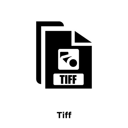 Tiff icon vector isolated on white background, logo concept of Tiff sign on transparent background, filled black symbol