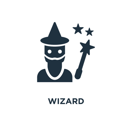Wizard icon. Black filled vector illustration. Wizard symbol on white background. Can be used in web and mobile. Illustration