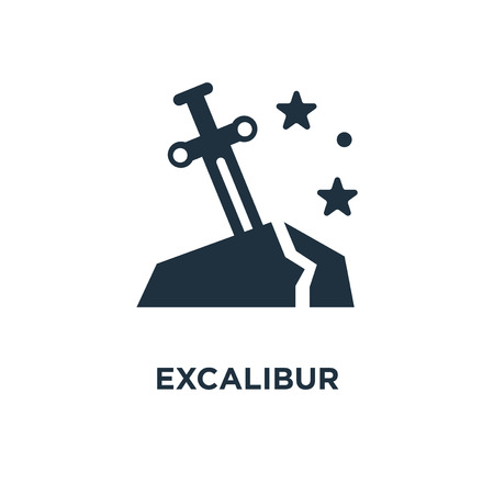 Excalibur icon. Black filled vector illustration. Excalibur symbol on white background. Can be used in web and mobile. Illustration