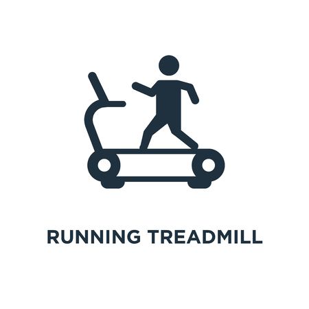 Running Treadmill icon. Black filled vector illustration. Running Treadmill symbol on white background. Can be used in web and mobile.