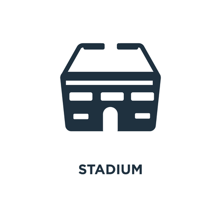 Stadium icon. Black filled vector illustration. Stadium symbol on white background. Can be used in web and mobile. Illustration