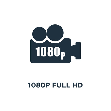 1080p Full HD icon. Black filled vector illustration. 1080p Full HD symbol on white background. Can be used in web and mobile.