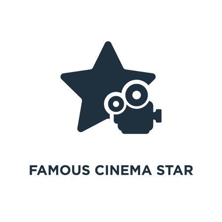 Famous cinema star icon. Black filled vector illustration. Famous cinema star symbol on white background. Can be used in web and mobile. Çizim