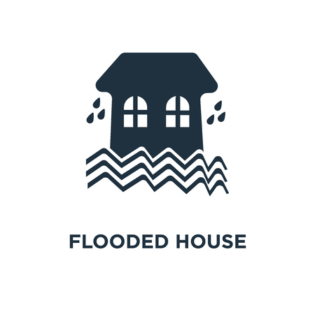Flooded house icon. Black filled vector illustration. Flooded house symbol on white background. Can be used in web and mobile.