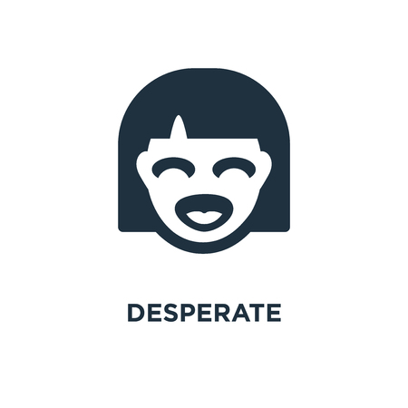 Desperate icon. Black filled vector illustration. Desperate symbol on white background. Can be used in web and mobile. Illustration