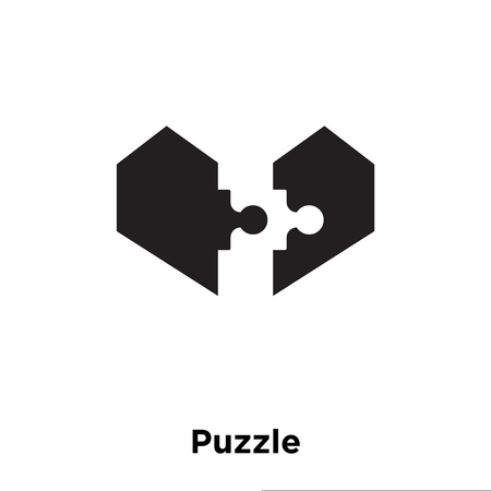 Puzzle icon vector isolated on white background, logo concept of Puzzle sign on transparent background, filled black symbol Illustration