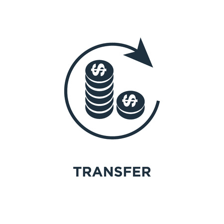 Transfer icon. Black filled vector illustration. Transfer symbol on white background. Can be used in web and mobile.