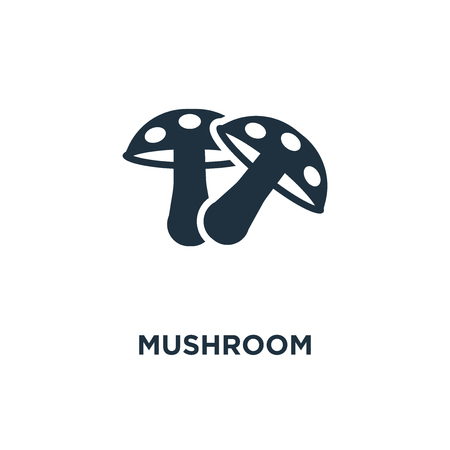 Mushroom icon. Black filled vector illustration. Mushroom symbol on white background. Can be used in web and mobile.
