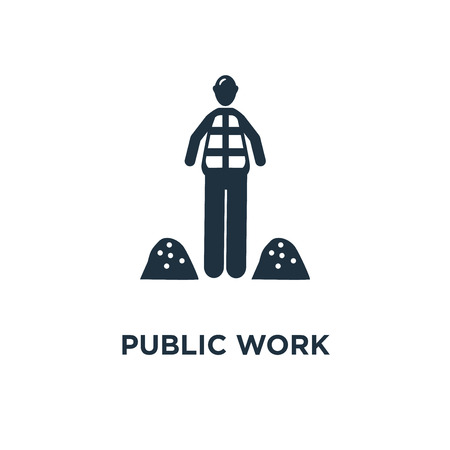 Public Work icon. Black filled vector illustration. Public Work symbol on white background. Can be used in web and mobile.
