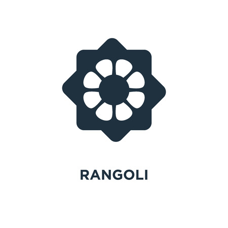 Rangoli icon. Black filled vector illustration. Rangoli symbol on white background. Can be used in web and mobile. Illustration
