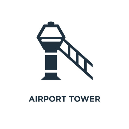 Airport tower icon. Black filled vector illustration. Airport tower symbol on white background. Can be used in web and mobile.