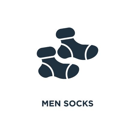 Men Socks icon. Black filled vector illustration. Men Socks symbol on white background. Can be used in web and mobile.
