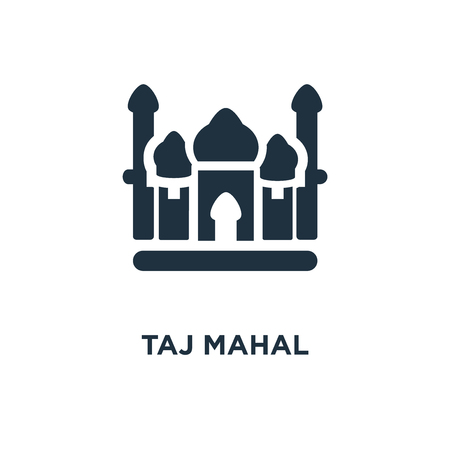 Taj mahal icon. Black filled vector illustration. Taj mahal symbol on white background. Can be used in web and mobile.