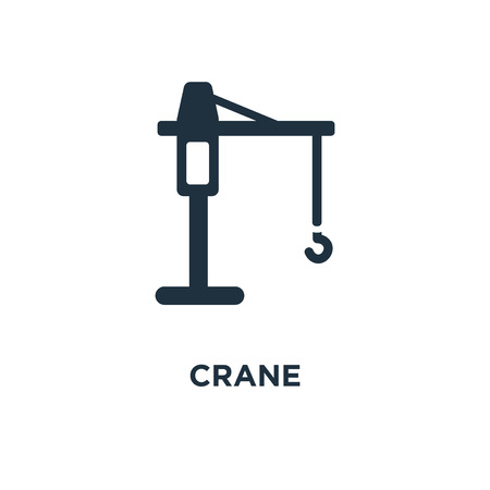 Crane icon. Black filled vector illustration. Crane symbol on white background. Can be used in web and mobile.