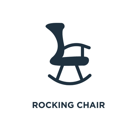 Rocking chair icon. Black filled vector illustration. Rocking chair symbol on white background. Can be used in web and mobile.