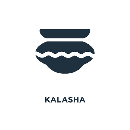 Kalasha icon. Black filled vector illustration. Kalasha symbol on white background. Can be used in web and mobile.