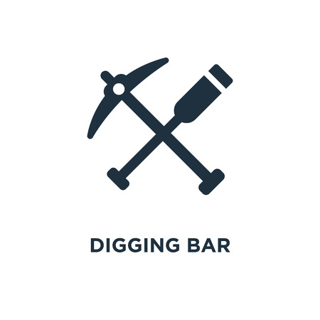 Digging Bar icon. Black filled vector illustration. Digging Bar symbol on white background. Can be used in web and mobile.