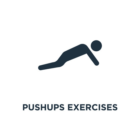 Pushups Exercises icon. Black filled vector illustration. Pushups Exercises symbol on white background. Can be used in web and mobile.