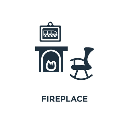 Fireplace icon. Black filled vector illustration. Fireplace symbol on white background. Can be used in web and mobile. Stock Illustratie