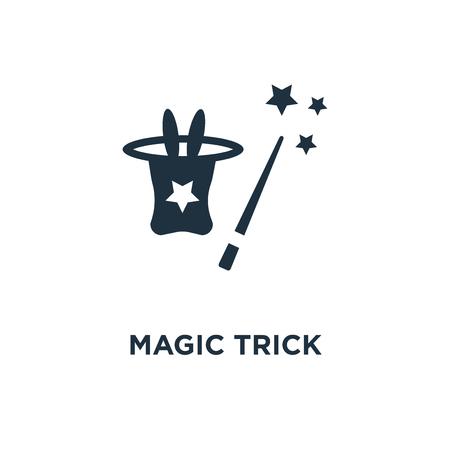 Magiczna sztuczka ikona. Ilustracja wektorowa czarne wypełnione. Magiczna sztuczka symbol na białym tle. Może być używany w sieci i na urządzeniach mobilnych. Ilustracje wektorowe