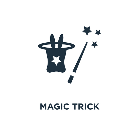 Magic trick icon. Black filled vector illustration. Magic trick symbol on white background. Can be used in web and mobile.