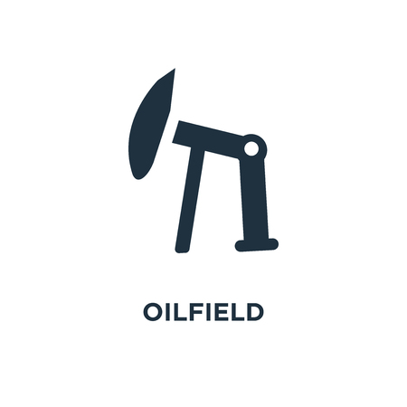 Oilfield icon. Black filled vector illustration. Oilfield symbol on white background. Can be used in web and mobile.