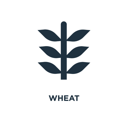 Wheat icon. Black filled vector illustration. Wheat symbol on white background. Can be used in web and mobile.
