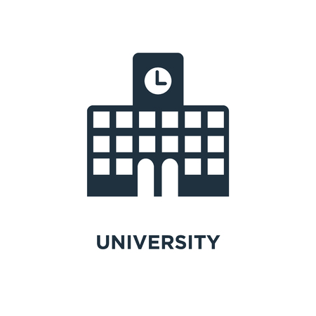 University icon. Black filled vector illustration. University symbol on white background. Can be used in web and mobile.