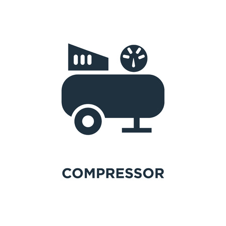 Compressor icon. Black filled vector illustration. Compressor symbol on white background. Can be used in web and mobile.