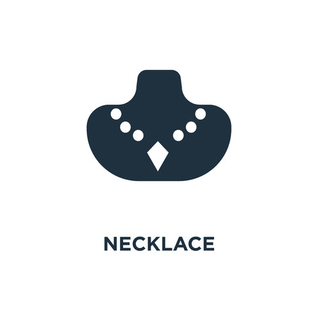 Necklace icon. Black filled vector illustration. Necklace symbol on white background. Can be used in web and mobile. Ilustrace