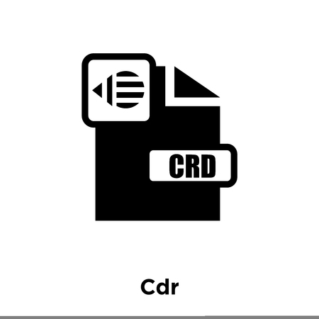 Cdr icon vector isolated on white background, logo concept of Cdr sign on transparent background, filled black symbol Illustration