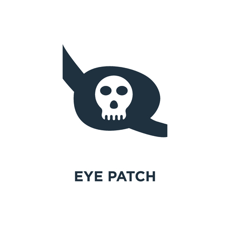 Eye patch icon. Black filled vector illustration. Eye patch symbol on white background. Can be used in web and mobile. Çizim