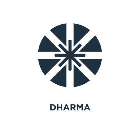 Dharma icon. Black filled vector illustration. Dharma symbol on white background. Can be used in web and mobile. Illustration