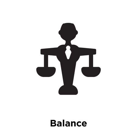 Balance icon vector isolated on white background, logo concept of Balance sign on transparent background, filled black symbol Ilustração