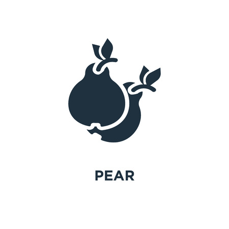 Pear icon. Black filled vector illustration. Pear symbol on white background. Can be used in web and mobile.
