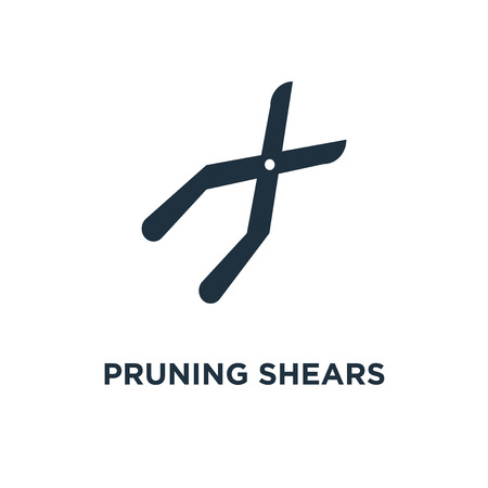Pruning shears icon. Black filled vector illustration. Pruning shears symbol on white background. Can be used in web and mobile.