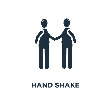 hand shake icon. Black filled vector illustration. hand shake symbol on white background. Can be used in web and mobile.
