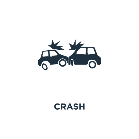 Crash icon. Black filled vector illustration. Crash symbol on white background. Can be used in web and mobile.