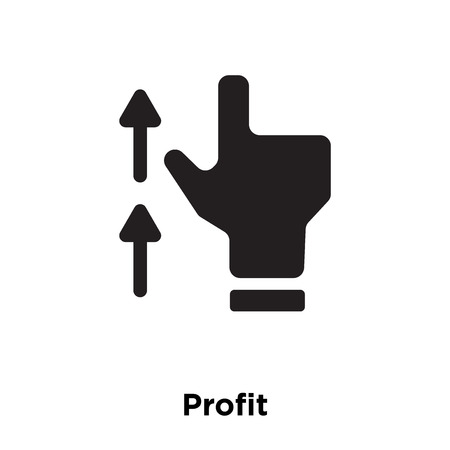 Profit icon vector isolated on white background, logo concept of Profit sign on transparent background, filled black symbol