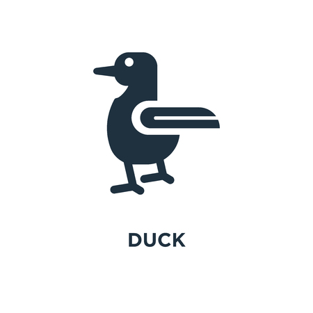 Duck icon. Black filled vector illustration. Duck symbol on white background. Can be used in web and mobile. Ilustração