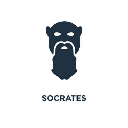 Socrates icon. Black filled vector illustration. Socrates symbol on white background. Can be used in web and mobile.