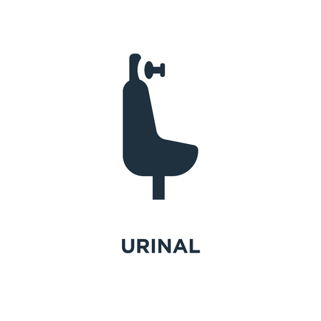 Urinal icon. Black filled vector illustration. Urinal symbol on white background. Can be used in web and mobile.