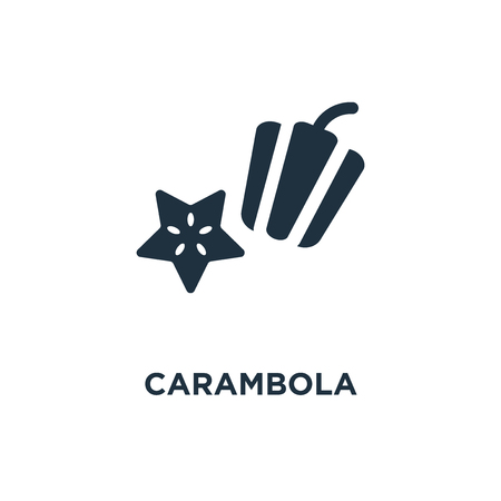 Carambola icon. Black filled vector illustration. Carambola symbol on white background. Can be used in web and mobile.