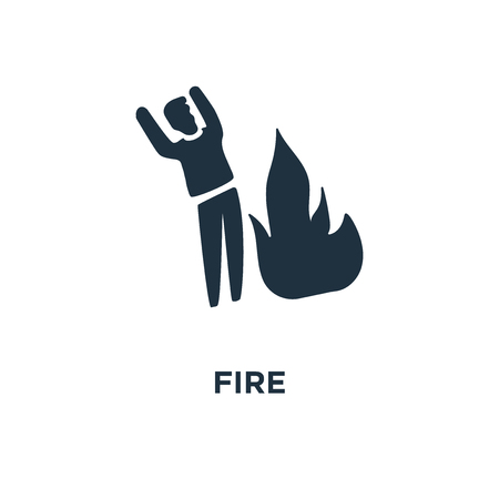 Fire icon. Black filled vector illustration. Fire symbol on white background. Can be used in web and mobile.