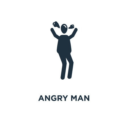 Angry Man icon. Black filled vector illustration. Angry Man symbol on white background. Can be used in web and mobile. Illustration