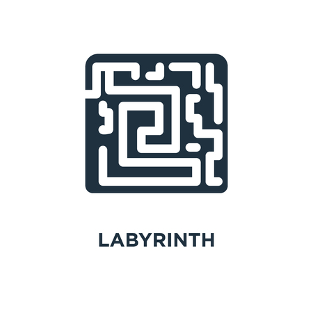 Labyrinth icon. Black filled vector illustration. Labyrinth symbol on white background. Can be used in web and mobile.