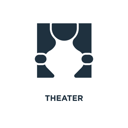Theater icon. Black filled vector illustration. Theater symbol on white background. Can be used in web and mobile. Illustration