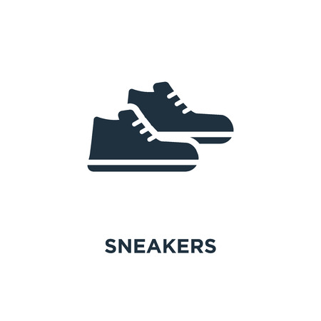 Sneakers icon. Black filled vector illustration. Sneakers symbol on white background. Can be used in web and mobile.